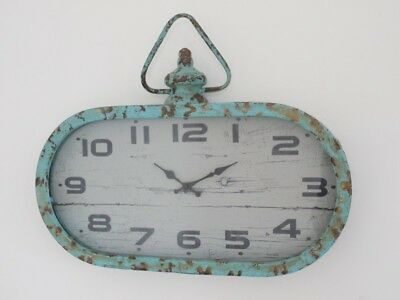 Vintage Antique Style Wall Clock Oval Face Metal Frame Blue Kitchen Living Room