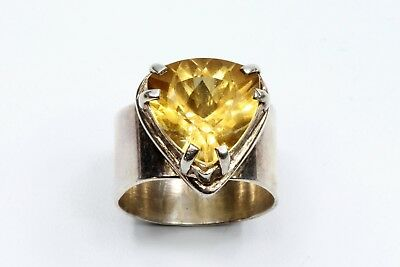 Vintage MCM Mid Century Modern Taxco Mexico 950 Sterling Silver & Citrine Ring