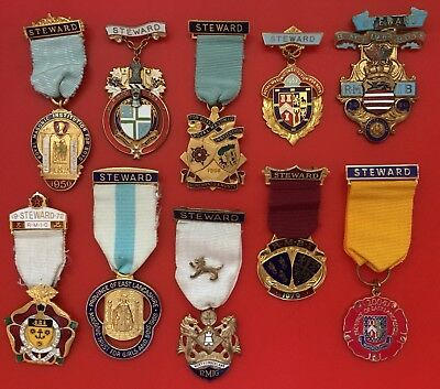 Collection Of 10 Masonic Festival Stewards Jewels 1950-2004