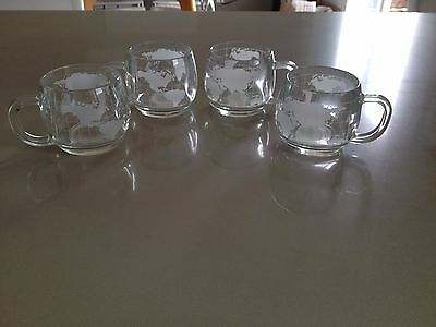 Set of 4 Vintage, Globe, Nestle Coffee Mugs