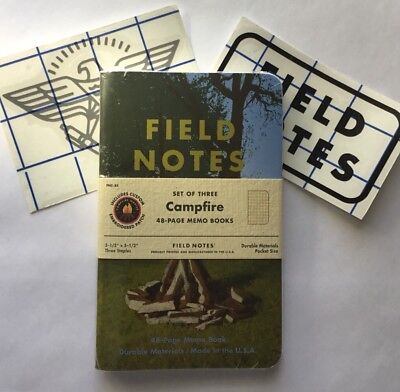 Field Notes CAMPFIRE Sealed Pack of 3 memo books + Cloth Patch