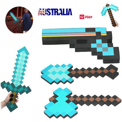 HOT Minecraft Large Blue Diamond Sword Pickaxe EVA Weapons Plush Doll soft toys