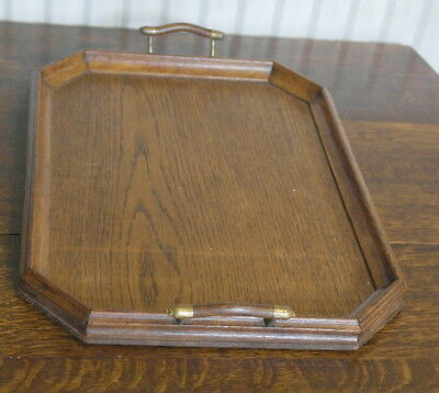 antique oak wood and brass  DRINKS SERVING TRAY
