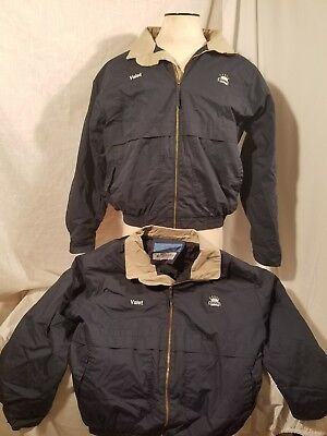 Cintas 2 insulated jackets mens Lg Navy  embroidered w/ Valet and Koons  (C05)
