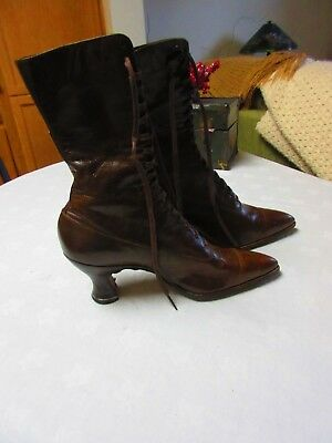 Antique Victorian Brown soft leather lace up Granny Boots shoes heels,