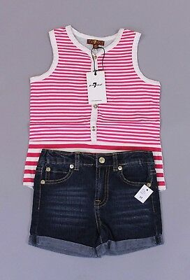 7 For All Mankind Girl's 2 Piece Striped Tank & Jean Short Set HD3 Rose Size 3T