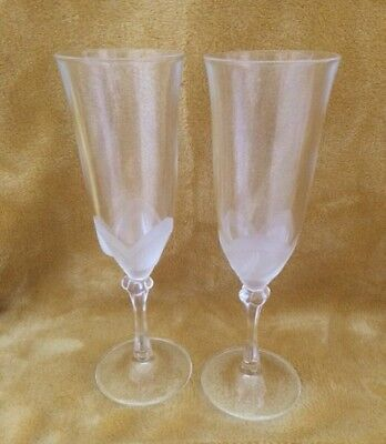 Pair JG Durand Crystal D'Arques Florence Satine Champagne Glass Flute Tulip/Leaf