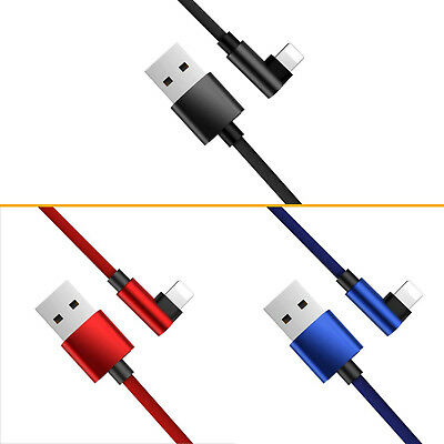 For Apple iPhone X 8 7 6 Plus 5S USB Cable 90°Elbow PUBG Gaming Charger Cord BI1