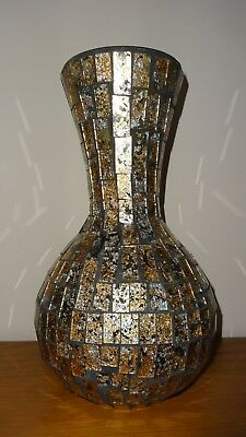 Beautiful Gold & Silver Glass Mosaic Vase From John Lewis - Mint Condition!