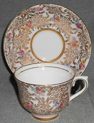 Colclough BONE CHINA - PINK/GOLD/FLORAL PATTERN Cup/Saucer Set GOLD TRIM