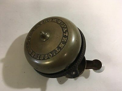 Antique 1860 Taylor's Brass Cast Iron Door Bell Pre Civil War w/ Crank (C54)