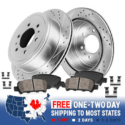 Fit 2003-2004 Dodge Dakota Front Rear Sport Drill Slot Brake Rotors+Ceramic Pads