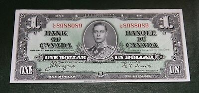 """Canada - 1937 Bank of Canada 1 Dollar Banknote BC-21d XF+ """"King George VI"""""""