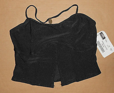 NWT Split Front Black Camisole Top with Metal Back Detail Extra large Adult