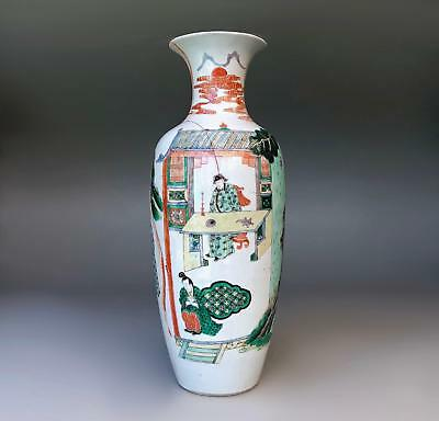 Large 45cm! antique Chinese porcelain Famille Verte sleeve vase 19th Century
