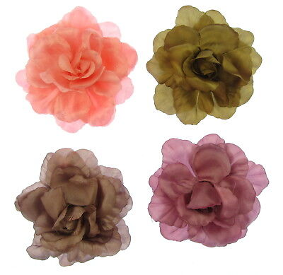 large floppy layered satin flower clip and brooch pin 16 cm weddings