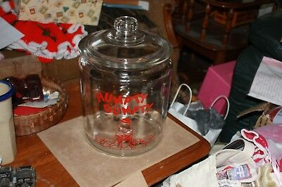"Vintage Humpty Dumpty Glass Potato Chip Jar W/lid Red Lettering 12"" Mint"