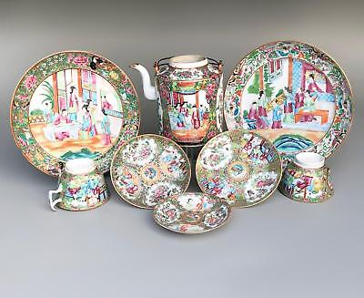 LOT!  antique Chinese CANTON PORCELAIN famille rose Mandarin 19th Century plate