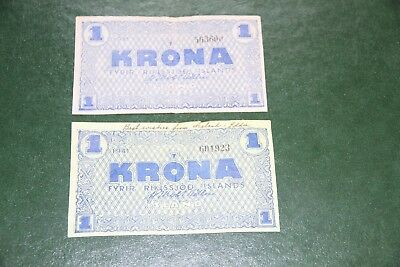 Two Iceland Banknotes 1 Kr P 22 World War II