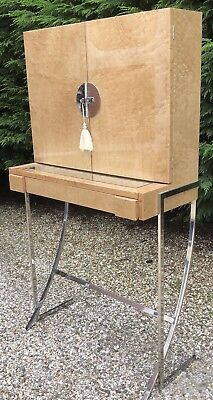 Very Rare Art Deco Style Walnut & Chrome Dressing Table/stand