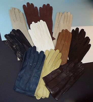 10 pairs of Vintage Kid Leather Ladies Gloves, Most Are New Small Size 6 6.5 Lot