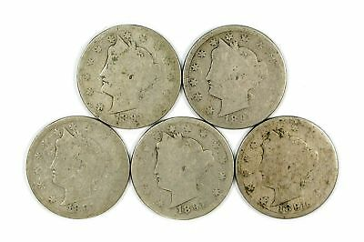Lot of 5 1891 Nickel 5c Liberty Head V Nickels AG Almost Good #120231 R