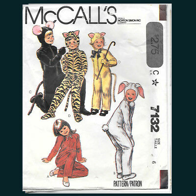 Vintage McCall's Pattern 7132 Boys' and Girls' Animal Costume Size 6