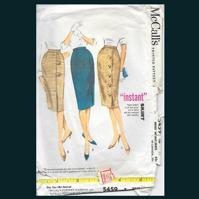 Vintage McCall's Pattern 5459 Misses' Instant Skirts Waist 24
