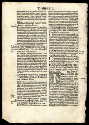 Psalms 1499 Incunable Leaf Exopsitio in Psalterium Commentary Ludwig Saxony