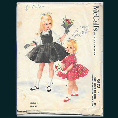 Vintage McCall's Pattern 5573 Child's Jumper and Dress Size 1