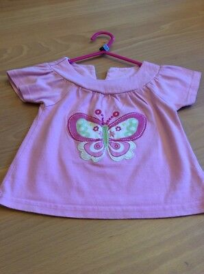 baby girls clothes 12-18 months Pink Cotton Embroidered Butterfly Top