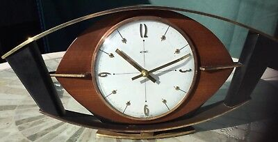 Retro Metamec Battery Mantle Clock in Teak, Black And Brass