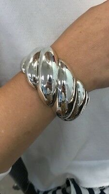 David Yurman 40Mm Sterling Silver Wide Sculpted Cable Cuff Bracelet