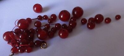 Antique Cherry Red Amber Bakelite Marbled Loose Beads~24 grams in Total~Mint...
