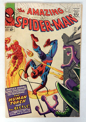 Amazing Spider-Man #21 2/65 Silver Age Human Torch Beetle Low Grade Maybe Higher