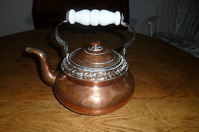 Antique Small Copper Kettle with Swing Handle.
