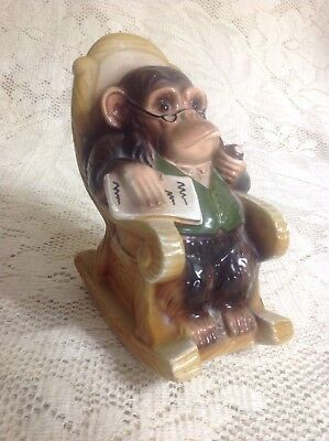 Vintage PIPE-SMOKING, NEWSPAPER-READING MONKEY Bank, Collectible Retirement Gift