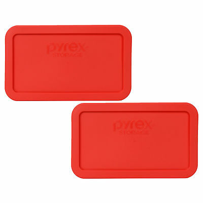Pyrex 7214-PC Rectangle 4.8 Cup Plastic Storage Lid Cover Red 2PK for Glass Dish
