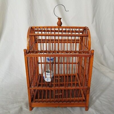 """Chinese Wooden and Wire Birdcage Terrarrium Decor, bottom tray, 15"""" w x 18"""" h"""