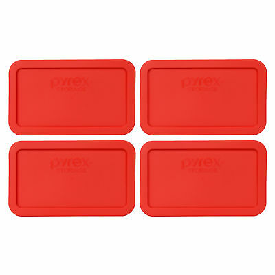 Pyrex 7214-PC Rectangle 4.8 Cup Plastic Storage Lid Cover Red 4PK for Glass Dish