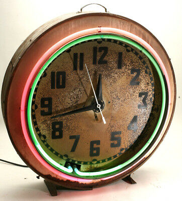 Antique Neon Clock Company Large Awesome Neon Clock Bar Restaurant Pool Room