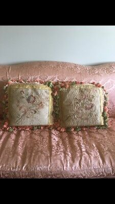 """Excellent antique condition pair Aubusson pillows linen backed & down filled 18"""""""