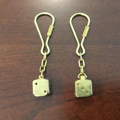 Lot Of 2 Vintage Solid Brass Key Chain Dice