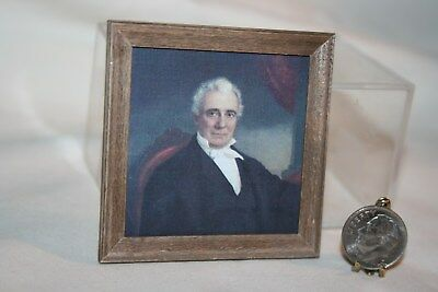 Miniature Dollhouse Portrait of a Country Squire/Gentleman Framed Faux Painting
