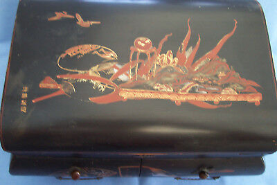 ~~~Lovely Large Oriental Lacquered Casket/work Box--Tansu, Signed, A/f~~~