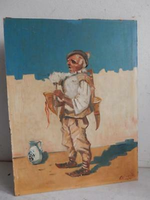 really old PAINTING portrait of a  mountaineer signed 1950