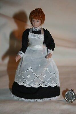 Miniature Dollhouse Victorian Maid Doll w Eyelet Lace Pinafore Posable 1:12 NR