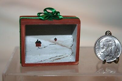 Miniature Dollhouse Handpainted Shadowbox Rural Snowy Winter Scene Signed NR
