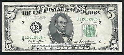 Fr. 1963-B* 1950-B $5 *star* Frn Federal Reserve Note New York, Ny Uncirculated