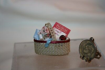 Miniature Dollohouse Quilting Basket w Supplies Thread Book Fabric Tape Measure